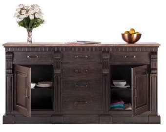 Sideboard Buffet Storage Cabinet 2m Large Iron Cupboard Wood Top