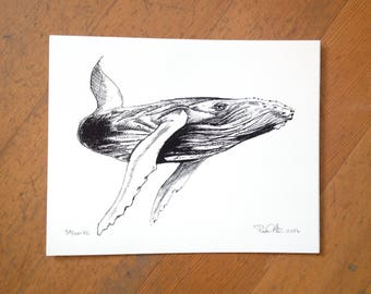 Humpback whale hand screen printed with archival ink on 100% cotton paper