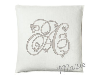 "Maisie Monogram Pillow, 25"" x 25"""