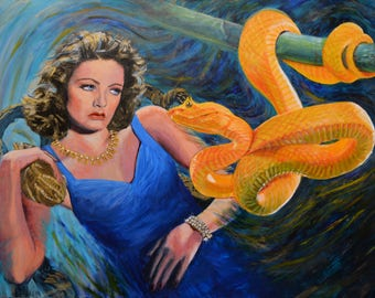 Large painting original acrylic on canvas serpent snake Gene Tierney african animal noirscapes Jane Ianniello Hollywood art surreal pet