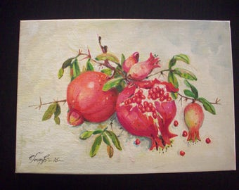 Pomegranates, gift, souvenir, oil painting, canvas with easel