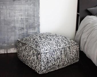 Reposapiés de lana, tejer otomano Puf de lana, punto PUF, puf cuadrado de punto, ganchillo niños sala puf cuadrado, silla de lana gris, Puf de vivero