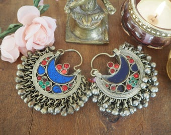 Beautiful Pair Chunky Vintage Afghan Hippie Boho Kuchi Ethnic Tribal Fusion Banjara Festival Indie Cresent Moon Earrings