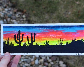 "Desert sunset acrylic mini painting- 9""x 3 1/4"""