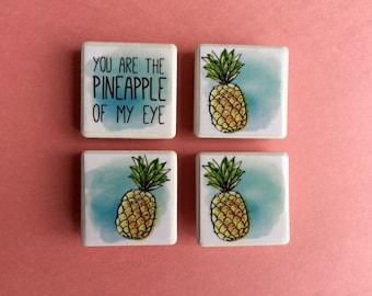 Pineapple magnets, summer magnets, fridge magnets, pineapple, pineapple watercolor
