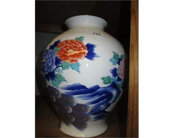 Large modern Japanese baluster form vase decorated with a peacock and flowers, 12ins hig
