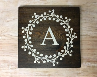 9x9 Berry Wreath Initial Wood Sign