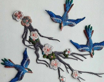 Moks21(p) set blossoming cherry bird branch Embroidery Patch