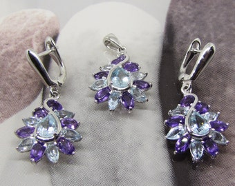 Set Jewelry Silver Pendant and stone earrings