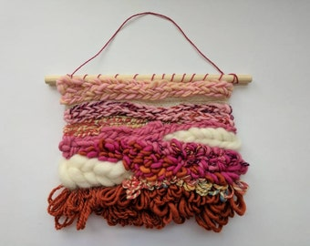 Pink Taffy || A one of a kind woven wall hanging in pink, orange, and white.