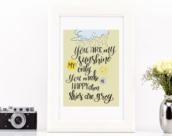 You are my sunshine, nursery printable, illustration, instant download,lettering
