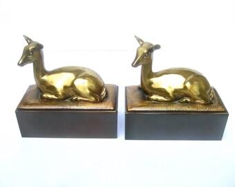 ART DECO Elegant Brass Metal Deer Bookends