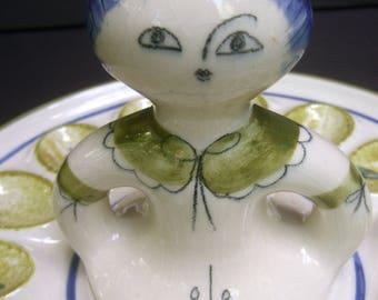 Whimsical Ceramic Hand Painted Egg Platter c 1960s