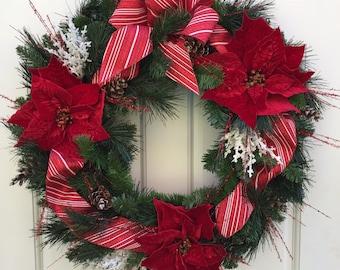 Christmas Wreath, Red Wreath, Poinsettia Wreath, Door Wreath, Wreath Street Floral, Evergreen Wreath