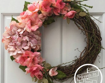 Summer Wreath, Hydrangea Wreath, Pink Wreath, Everyday Wreath, Wreath Street Floral, Front Door Wreath, Grapevine Wreath, Spring Wreath
