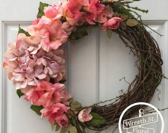 Hydrangea Wreath, Pink Wreath, Everyday Wreath, Wreath Street Floral, Front Door Wreath, Summer Wreath, Grapevine Wreath, Spring Wreath