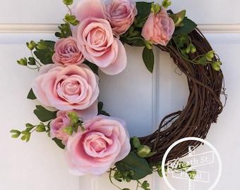 Small Wreath, 10 inch Grapevine Wreath, Pink Wreath, Rose Wreath, Window Wreath, Wall Wreath, Wreath Street Floral, Spring Wreath