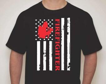 Firefighter Flag T-shirt-Firefighter apparel-Firefighter T-shirt