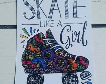 Skate like a girl postcard - A6 Art Print - Roller Derby - Henna Mehndi Art - Watercolour - Feminism
