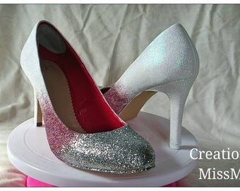 Customised heels/Prom Shoes/ Wedding Shoes/Glitter Shoes/Customised Glitter Shoes/ Sparkly Shoes