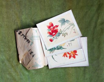 Five Vintage Chinese Paintings - Original Chinese Artwork - Chinese Watercolours - Chinese Flower Paintings - Old Chinese Silk Paintings