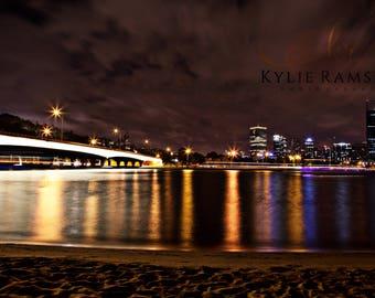 Perth. Night Photography. Bridge. Digital Image. Photography K. Ramsey
