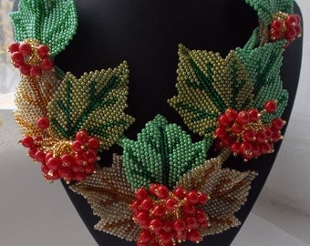 Beaded Jewelry. Ukrainian Jewelry viburnum. Red viburnum.