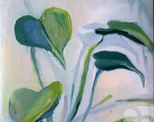 Philodendron - Philodendron Schott, image of the houseplant painting of a pot plant / plant motive Its original hand made