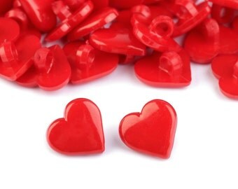 5 pcs Heart Buttons, Red Plastic Heart 15x15mm, for Childrens Clothing, Knitting Sewing