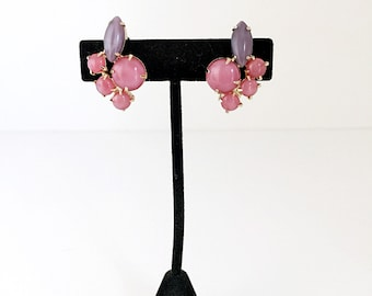 Pink & Purple Vintage Milk Glass with Gold Trim Clip On Earrings