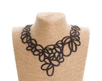 Statement Black Flower Necklace - Handmade Elegant vegan Necklace Jewelry - Inner Tube Avant Garde Necklace