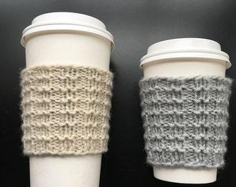 Hand Knit Coffee Sleeve, Coffee Cozy, Basketweave Pattern
