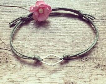 Rhombus silver, stainless steel, geometry, blogger, vintage, statement bracelet in olive green, bracelet