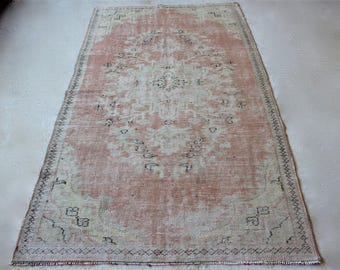 4'6''x8'1'' Turkish Vintage Rug, Large Area Rug, Distressed Oushak