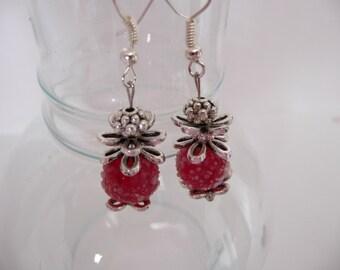 Earrings Lampwork red white