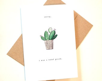 "Funny ""Sorry, I was a total prick"" apology greeting card"