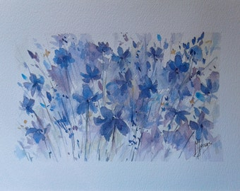 Original watercolor painting flowers