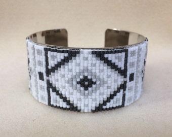 Woven grey Cuff Bracelet Bead Miyuki