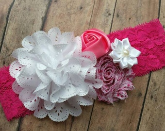 Valentine's headband - baby Valentines  headband - baby Valentines gift - baby heart headband - baby shower gift - pink hearts headband