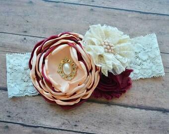 Burgundy and peach headband - vintage headband - flower girl headband - baby headband - wedding girl headband - baby gift - spring bow