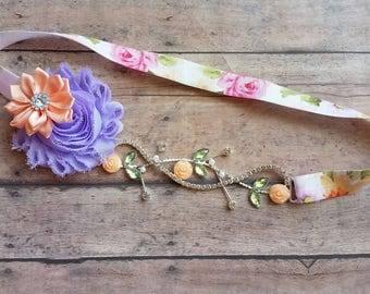 Spring vintage roses headband - vintage flower baby headband - peach floral headband - spring baby headband - baby girl shower gift