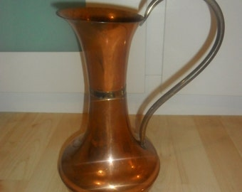 Vintage Retro Copper and Brass Jug / Pitcher - Some Wear
