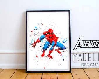 Spider Man Watercolour Splatter, Avengers, Avengers Watercolour, Instant download