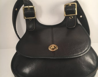 Rare Vintage Coach Berkeley Cresent Leather Shoulder Bag / Quality Black Leather /  Made in NYC / EUC