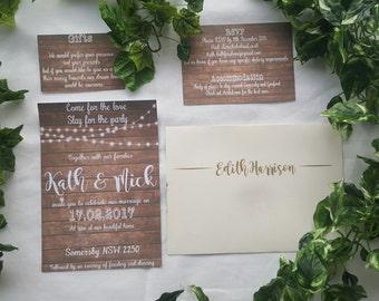 Timber Wedding Invitation