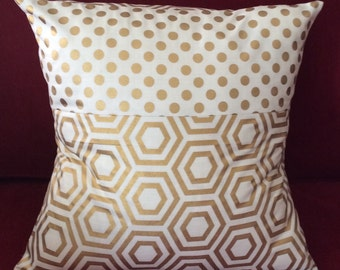Gold Metallic Pillow Cover Large Polka Dots and hexagons