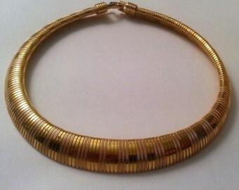 Vintage Trifari Snake Chain Necklace, Vintage Trifari Choker, Vintage Gold Snake Chain, Trifari, Statement Necklace, Necklaces, Vintage