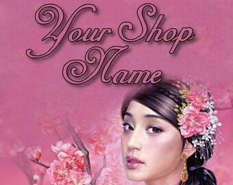 Shop Banner, Banner Set, Cherry Blossom Banner, Fantasy Banner Set, Banner Design, Graphic Design, Cover Photo, Premade Banner,