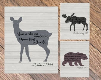 Woodland Themed Nursery Signs, Printable Woodland Animal Decor, Scripture Animal Signs, PDFs