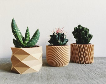 Set of 3 Pots / Planters Design Hygge printed in Wood perfect for succulents or cacti !